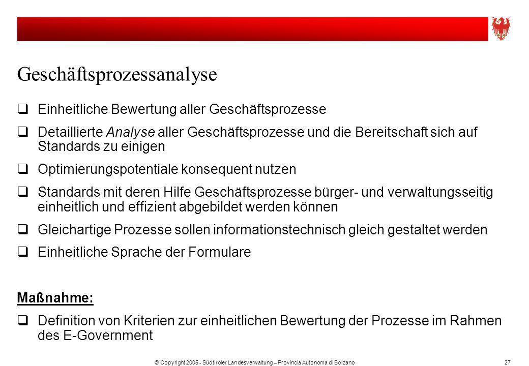 © Copyright 2005 - Südtiroler Landesverwaltung – Provincia Autonoma di Bolzano27 Geschäftsprozessanalyse Einheitliche Bewertung aller Geschäftsprozess
