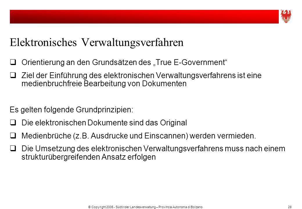 © Copyright 2005 - Südtiroler Landesverwaltung – Provincia Autonoma di Bolzano28 Elektronisches Verwaltungsverfahren Orientierung an den Grundsätzen d