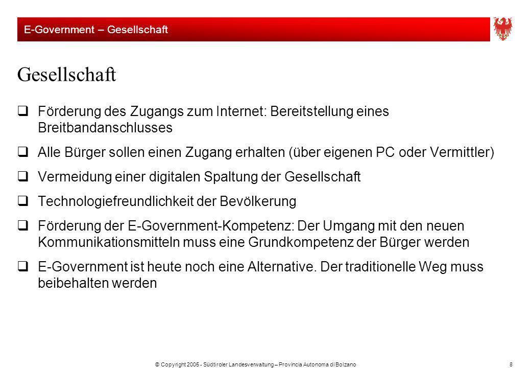 © Copyright 2005 - Südtiroler Landesverwaltung – Provincia Autonoma di Bolzano8 Förderung des Zugangs zum Internet: Bereitstellung eines Breitbandansc