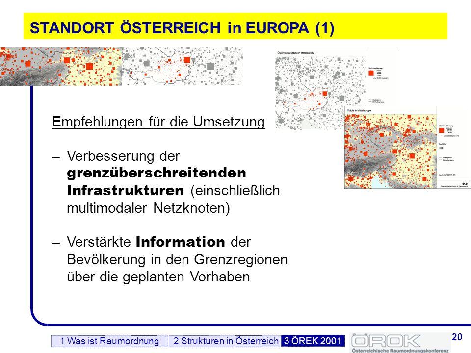 21 STANDORT ÖSTERREICH in EUROPA (2) Regionale Zusammenarbeit zwischen Bundesländern, Städten und Gemeinden in Form von regionalen Entwicklungsverbänden, Stadt-Umland-Partnerschaften Grenzüberschreitende Zusammenarbeit mit den Nachbarstaaten, auch auf regionaler und lokaler Ebene Beteiligung von Städten und Regionen an europaweiten Kooperationsnetzen –Kooperationen werden von entscheidender Bedeutung sein 1 Was ist Raumordnung2 Strukturen in Österreich3 ÖREK 2001