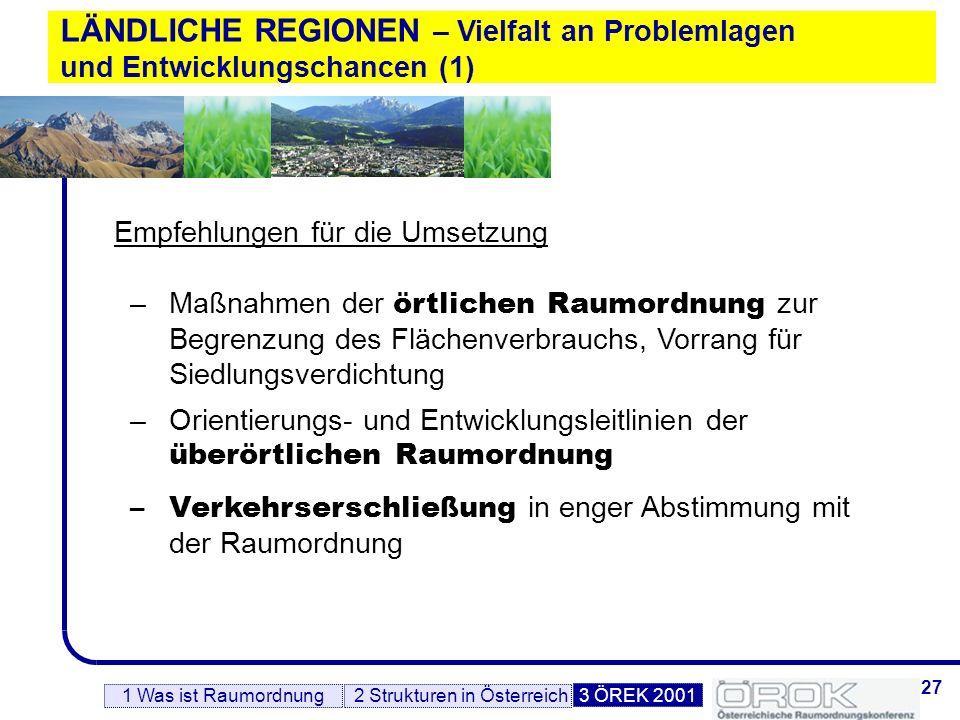 28 LÄNDLICHE REGIONEN – Vielfalt an Problemlagen und Entwicklungschancen (2) –Förderungsmaßnahmen der gewerblichen und agrarischen Wirtschaftsförderung, v.a.