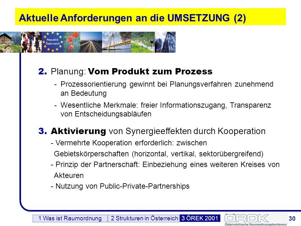 31 Aktuelle Anforderungen an die UMSETZUNG (3) 1 Was ist Raumordnung2 Strukturen in Österreich3 ÖREK 2001 4.