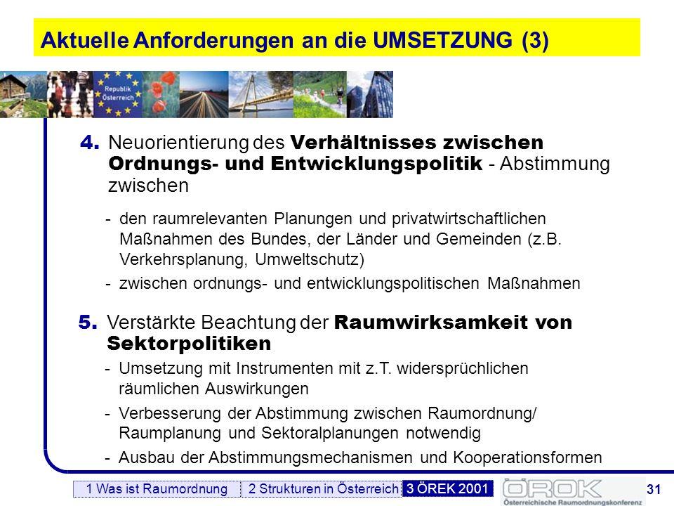 32 Linksammlung 2 Strukturen in Österreich3 ÖREK 20011 Was ist Raumordnung Europa http://europa.eu.int/comm/regional_policy/index_de.htm EUREK: http://europa.eu.int/comm/regional_policy/sources/docoffic/official/reports/som_de.htm Österreich www.bka.gv.at/regionalpolitik/ www.oerok.gv.at www.rm-austria.at www.leader-austria.at Bundesländer http://www.bgld.gv.at http://www.ktn.gv.at/index.html http://www.noel.gv.at/Planungen/Raumordnung.htm http://www.ooe.gv.at/raumordnung http://www.salzburg.gv.at/raumplanung http://www.raumplanung.steiermark.at http://www.tirol.gv.at/raumordnung/ http://www.vorarlberg.at/ http://www.wien.gv.at/index/in_stadt.htm