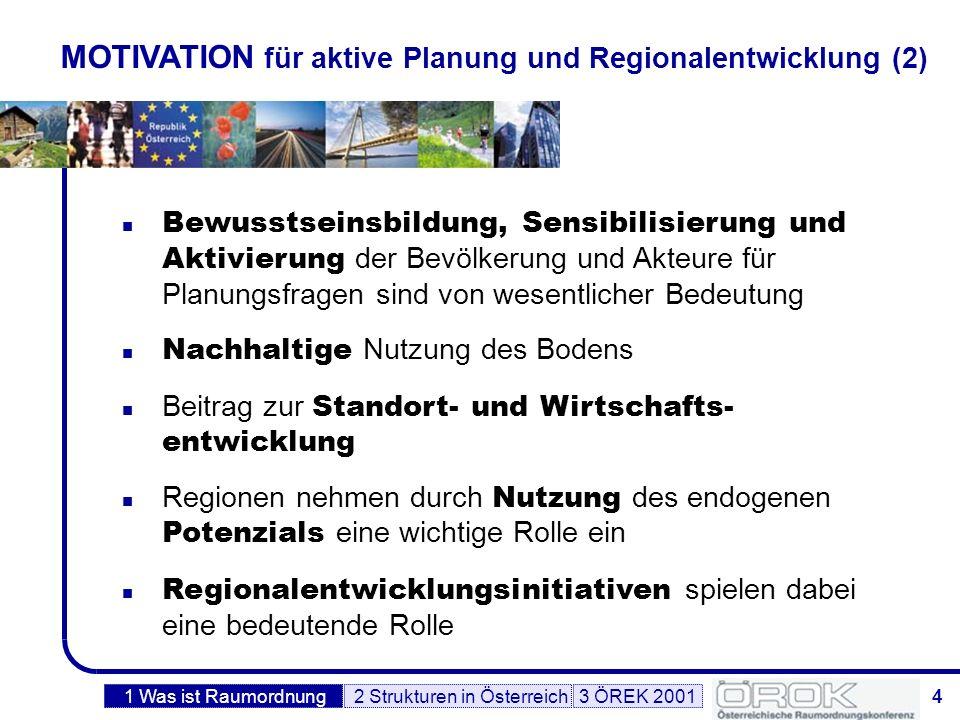 5 DEFINITIONEN – Raumordnung Der Begriff Raumordnung umfasst die Gesamtheit der Maßnahmen öffentlicher Gebietskörperschaften hoheitlicher und privatwirtschaftlicher Art, die darauf abzielen, ein Territorium nach bestimmten politischen Zielvorstellungen zu gestalten.
