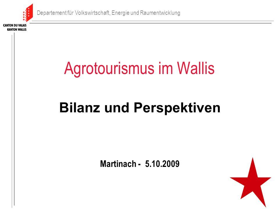 Agrotourismus im Wallis Bilanz und Perspektiven Martinach - 5.10.2009 Departement für Volkswirtschaft, Energie und Raumentwicklung