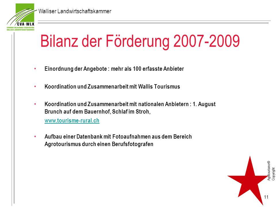 Bilanz der Förderung 2007-2009 Einordnung der Angebote : mehr als 100 erfasste Anbieter Koordination und Zusammenarbeit mit Wallis Tourismus Koordinat