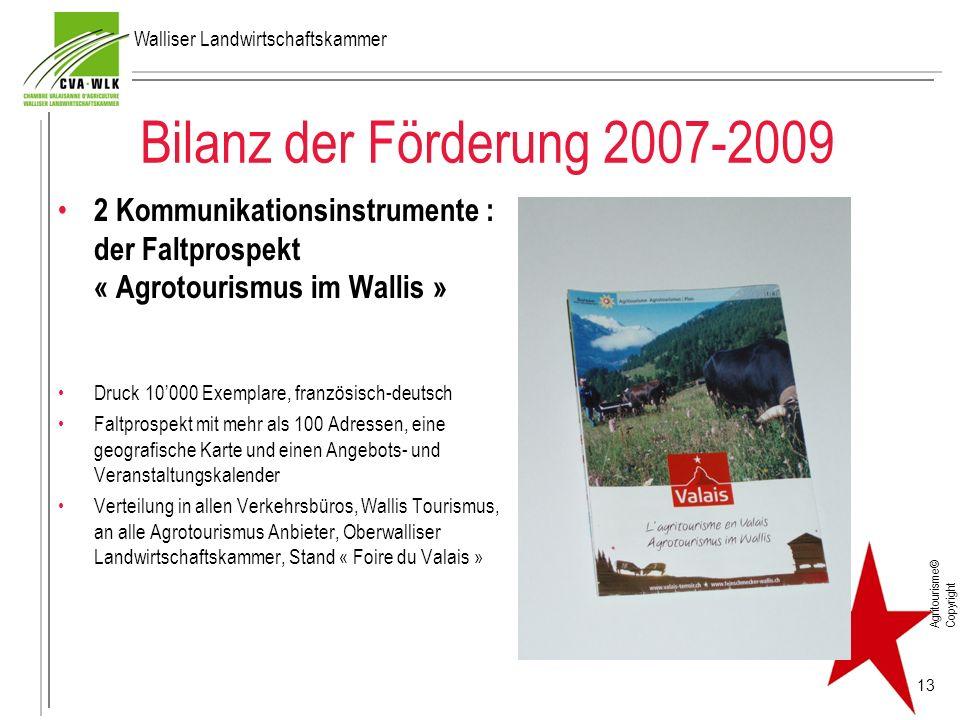 Bilanz der Förderung 2007-2009 2 Kommunikationsinstrumente : der Faltprospekt « Agrotourismus im Wallis » Druck 10000 Exemplare, französisch-deutsch F