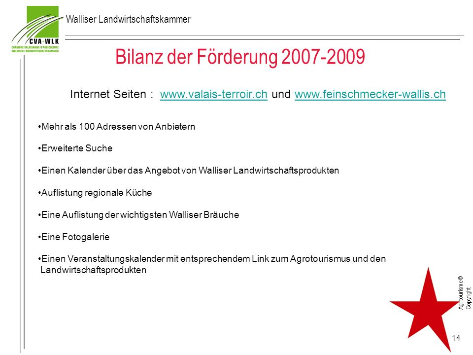 Bilanz der Förderung 2007-2009 Agritourisme© Copyright 14 Internet Seiten : www.valais-terroir.ch und www.feinschmecker-wallis.chwww.valais-terroir.ch