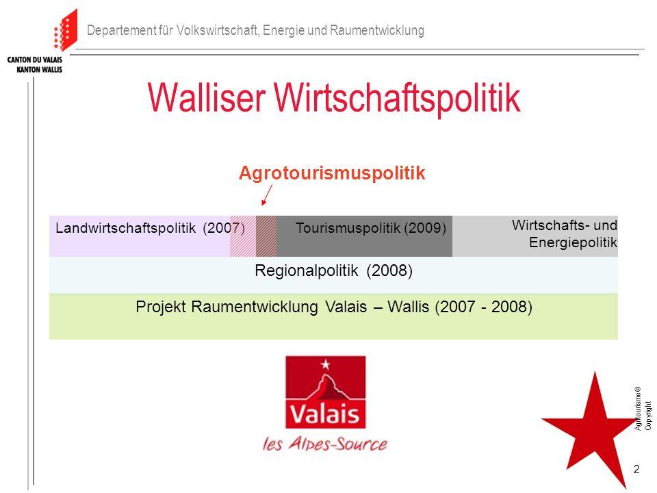 Walliser Wirtschaftspolitik Projekt Raumentwicklung Valais – Wallis (2007 - 2008) Landwirtschaftspolitik (2007)Tourismuspolitik (2009) Wirtschafts- un