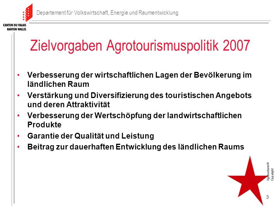 Zielvorgaben Agrotourismuspolitik 2007 Verbesserung der wirtschaftlichen Lagen der Bevölkerung im ländlichen Raum Verstärkung und Diversifizierung des