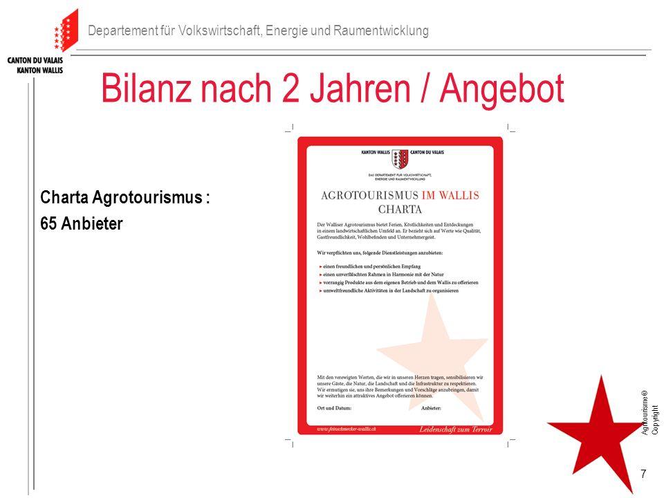 Bilanz nach 2 Jahren / Angebot Charta Agrotourismus : 65 Anbieter 7 Departement für Volkswirtschaft, Energie und Raumentwicklung Agritourisme© Copyrig