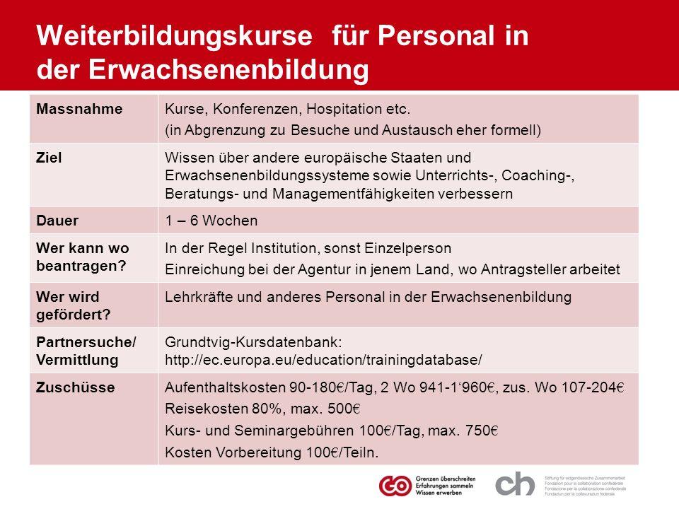 MassnahmeKurse, Konferenzen, Hospitation etc. (in Abgrenzung zu Besuche und Austausch eher formell) ZielWissen über andere europäische Staaten und Erw