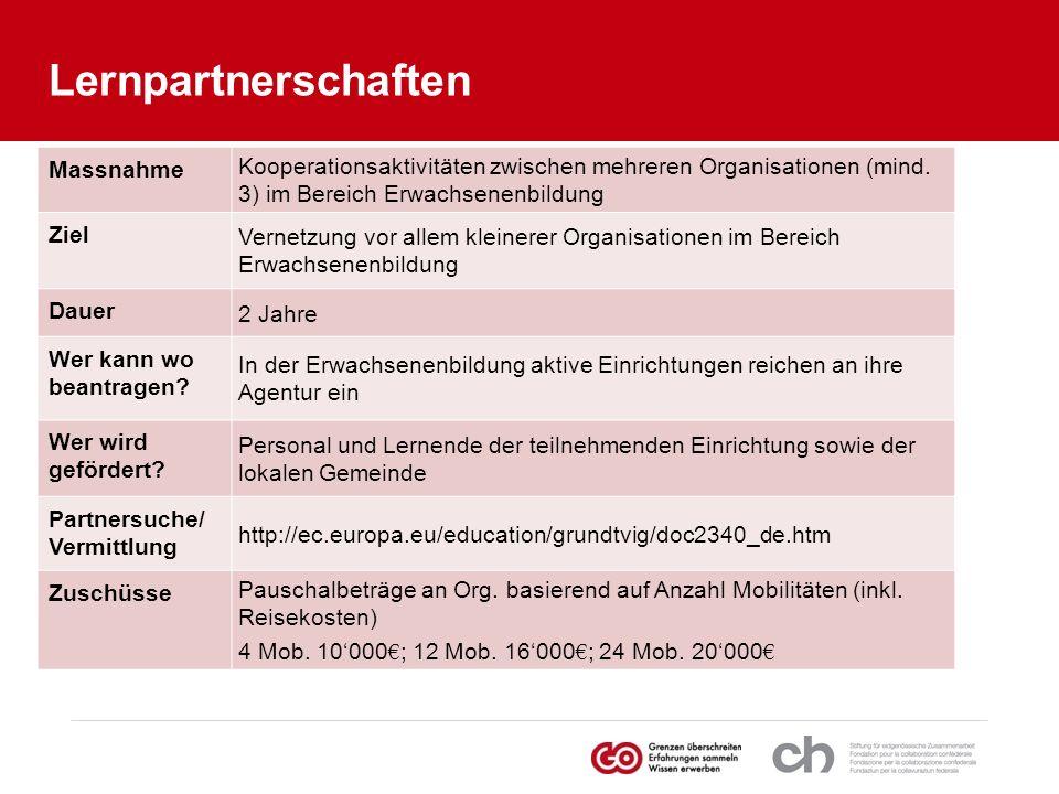 Massnahme Kooperationsaktivitäten zwischen mehreren Organisationen (mind. 3) im Bereich Erwachsenenbildung Ziel Vernetzung vor allem kleinerer Organis