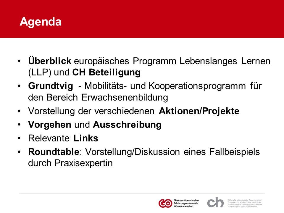 Agenda Überblick europäisches Programm Lebenslanges Lernen (LLP) und CH Beteiligung Grundtvig - Mobilitäts- und Kooperationsprogramm für den Bereich E