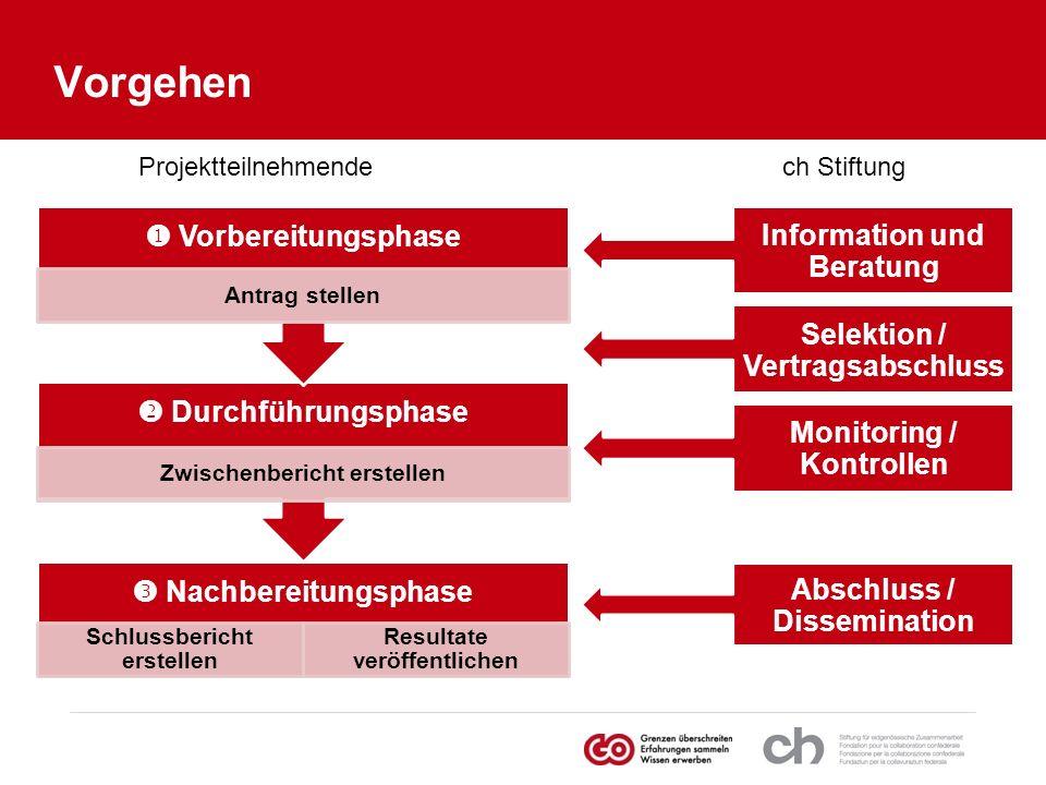 Vorgehen Nachbereitungsphase Schlussbericht erstellen Resultate veröffentlichen Durchführungsphase Zwischenbericht erstellen Vorbereitungsphase Antrag