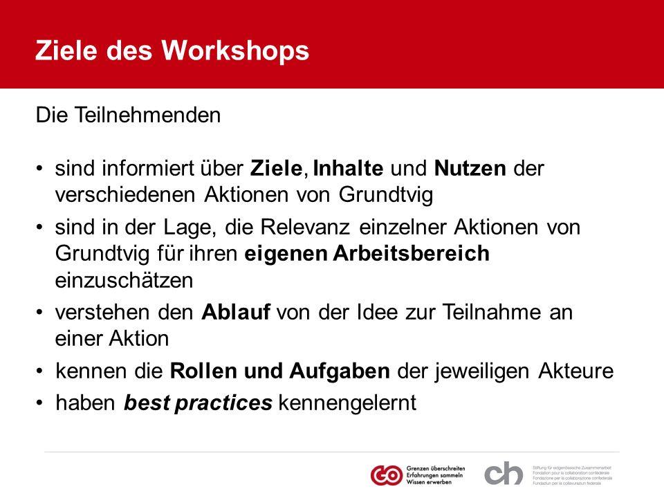 Ziele des Workshops Die Teilnehmenden sind informiert über Ziele, Inhalte und Nutzen der verschiedenen Aktionen von Grundtvig sind in der Lage, die Re
