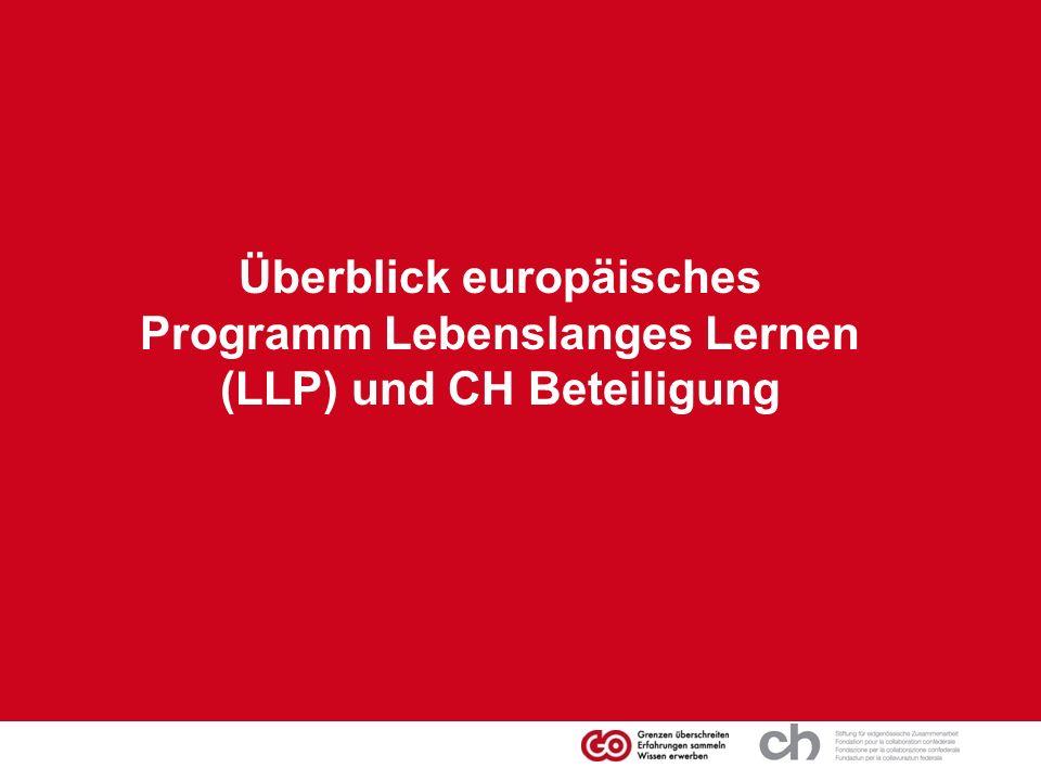 Überblick europäisches Programm Lebenslanges Lernen (LLP) und CH Beteiligung