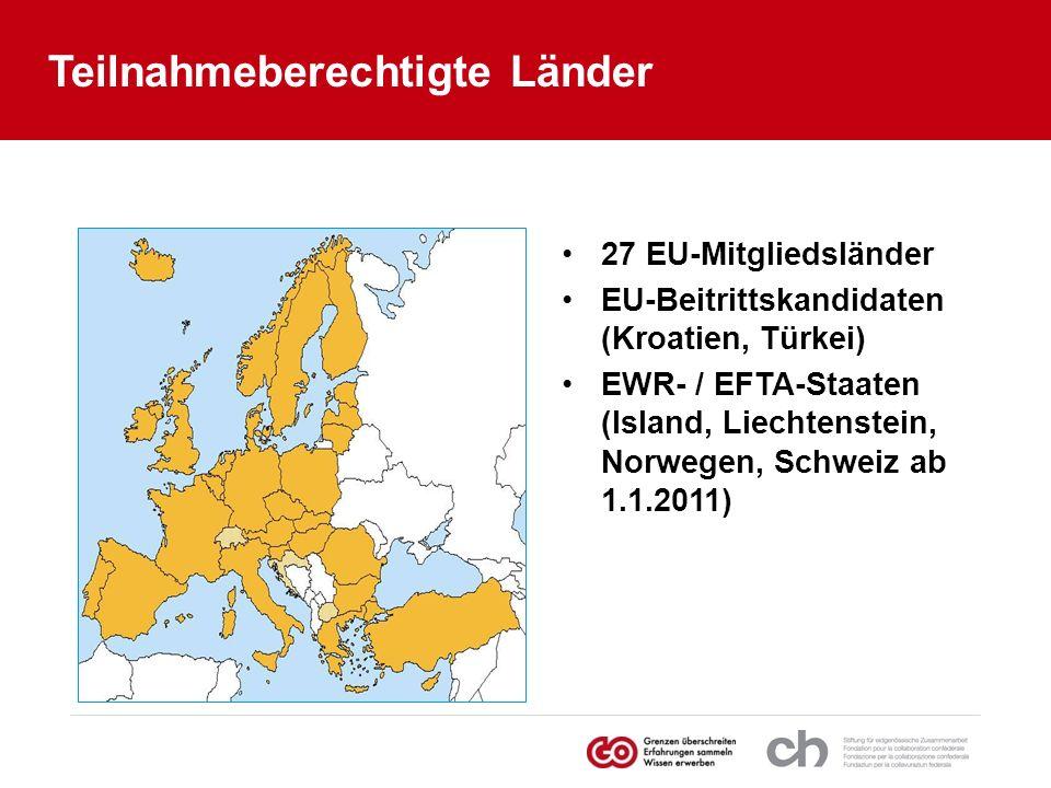 Teilnahmeberechtigte Länder 27 EU-Mitgliedsländer EU-Beitrittskandidaten (Kroatien, Türkei) EWR- / EFTA-Staaten (Island, Liechtenstein, Norwegen, Schw
