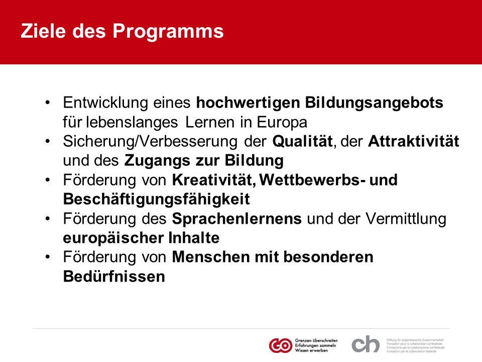 Ziele des Programms Entwicklung eines hochwertigen Bildungsangebots für lebenslanges Lernen in Europa Sicherung/Verbesserung der Qualität, der Attrakt