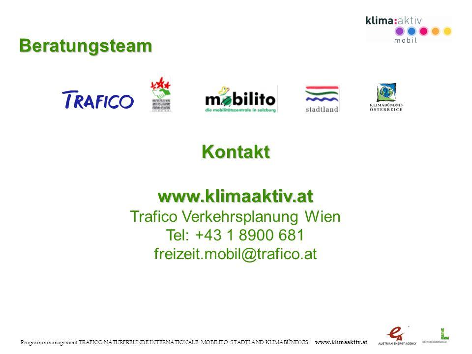 Programmmanagement TRAFICO-NATURFREUNDE INTERNATIONALE- MOBILITO -STADTLAND-KLIMABÜNDNIS www.klimaaktiv.at Kontaktwww.klimaaktiv.at Trafico Verkehrsplanung Wien Tel: +43 1 8900 681 freizeit.mobil@trafico.at Beratungsteam