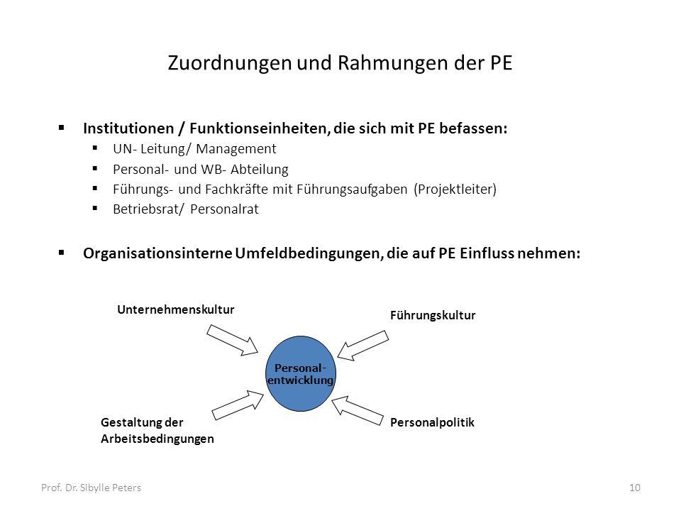 Prof. Dr. Sibylle Peters10 Zuordnungen und Rahmungen der PE Institutionen / Funktionseinheiten, die sich mit PE befassen: UN- Leitung/ Management Pers