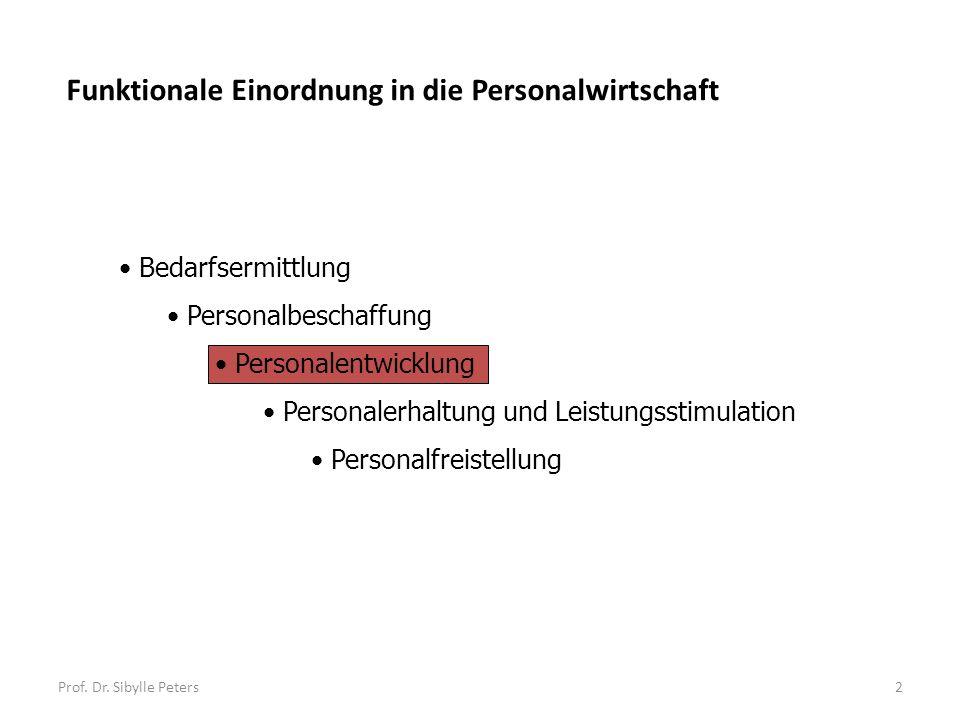 Prof. Dr. Sibylle Peters2 Bedarfsermittlung Personalbeschaffung Personalentwicklung Personalerhaltung und Leistungsstimulation Personalfreistellung Fu
