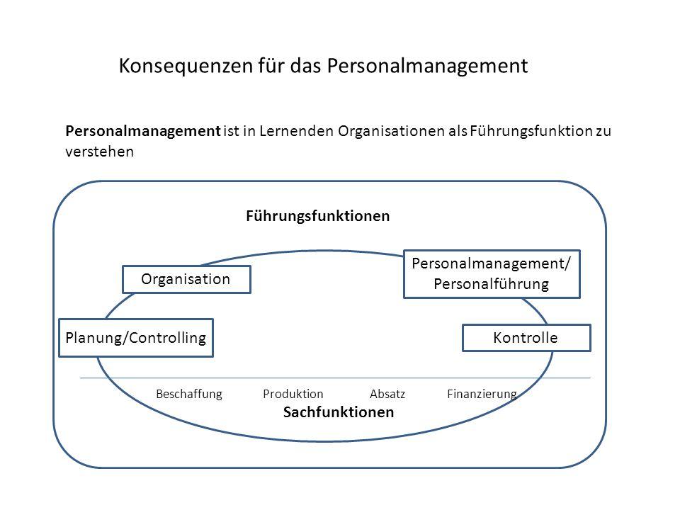 Konsequenzen für das Personalmanagement Personalmanagement ist in Lernenden Organisationen als Führungsfunktion zu verstehen f Führungsfunktionen Sach