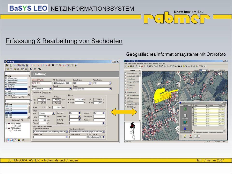 Hartl Christian 2007LEITUNGSKATASTER – Potentiale und Chancen Erfassung & Bearbeitung von Sachdaten Geografisches Informationssysteme mit Orthofoto NE