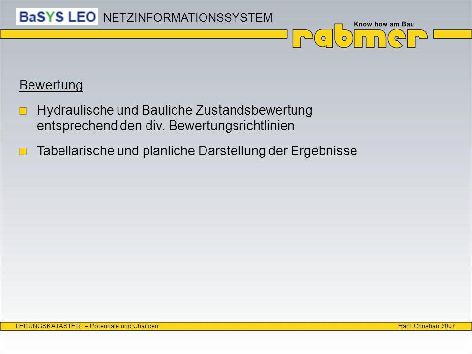 Hartl Christian 2007LEITUNGSKATASTER – Potentiale und Chancen Bewertung Hydraulische und Bauliche Zustandsbewertung entsprechend den div. Bewertungsri