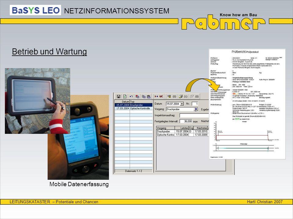 Hartl Christian 2007LEITUNGSKATASTER – Potentiale und Chancen Mobile Datenerfassung Betrieb und Wartung NETZINFORMATIONSSYSTEM