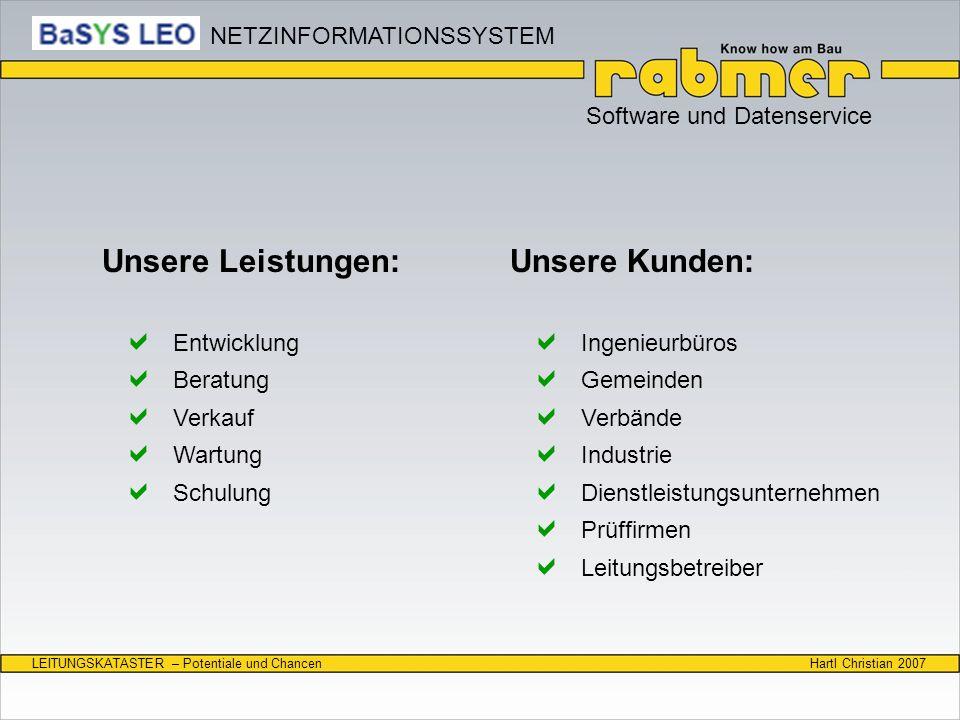 Hartl Christian 2007LEITUNGSKATASTER – Potentiale und Chancen Software und Datenservice Unsere Leistungen: Entwicklung Beratung Verkauf Wartung Schulu
