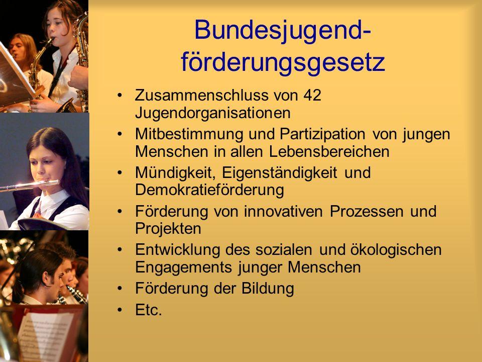 Bundesjugend- förderungsgesetz Zusammenschluss von 42 Jugendorganisationen Mitbestimmung und Partizipation von jungen Menschen in allen Lebensbereiche