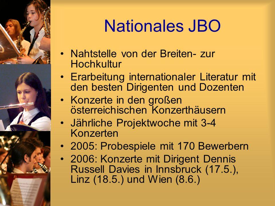 Nationales JBO Nahtstelle von der Breiten- zur Hochkultur Erarbeitung internationaler Literatur mit den besten Dirigenten und Dozenten Konzerte in den