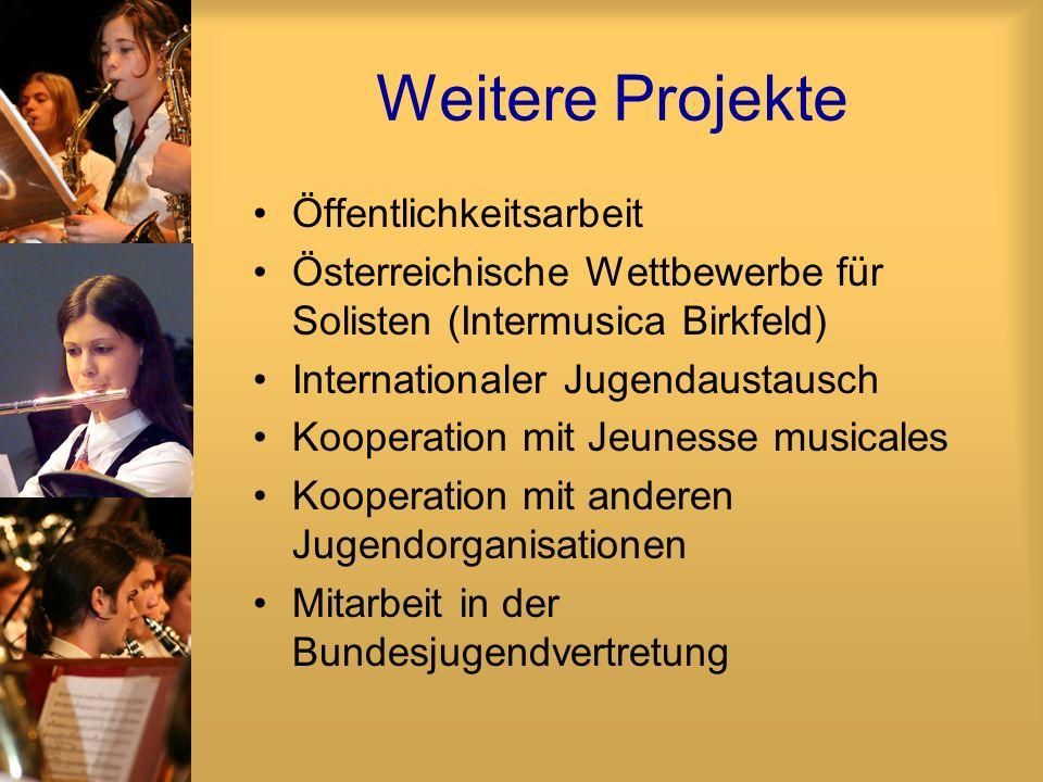 Weitere Projekte Öffentlichkeitsarbeit Österreichische Wettbewerbe für Solisten (Intermusica Birkfeld) Internationaler Jugendaustausch Kooperation mit Jeunesse musicales Kooperation mit anderen Jugendorganisationen Mitarbeit in der Bundesjugendvertretung