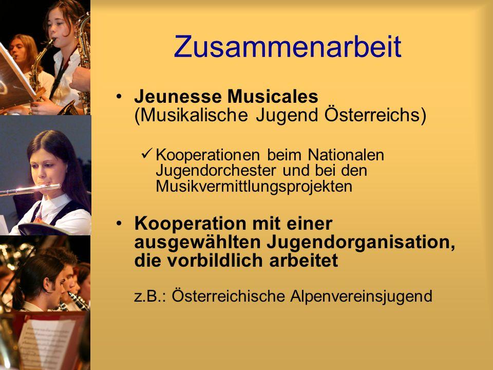 Zusammenarbeit Jeunesse Musicales (Musikalische Jugend Österreichs) Kooperationen beim Nationalen Jugendorchester und bei den Musikvermittlungsprojekt