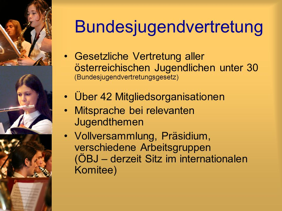 Bundesjugendvertretung Gesetzliche Vertretung aller österreichischen Jugendlichen unter 30 (Bundesjugendvertretungsgesetz) Über 42 Mitgliedsorganisati