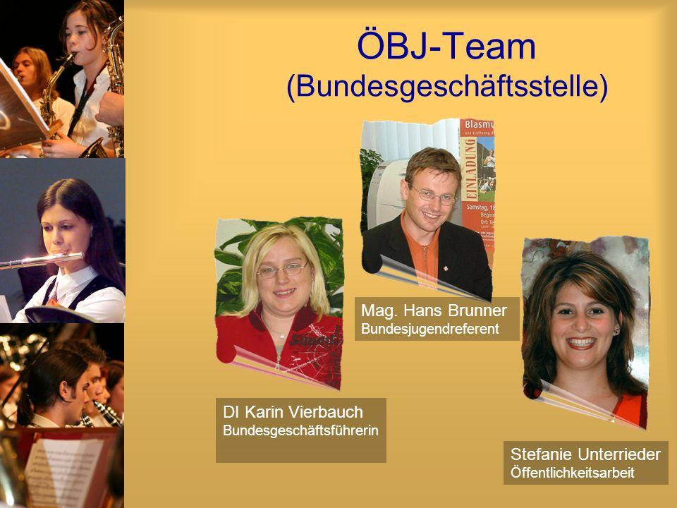ÖBJ-Team (Bundesgeschäftsstelle) DI Karin Vierbauch Bundesgeschäftsführerin Stefanie Unterrieder Öffentlichkeitsarbeit Mag. Hans Brunner Bundesjugendr