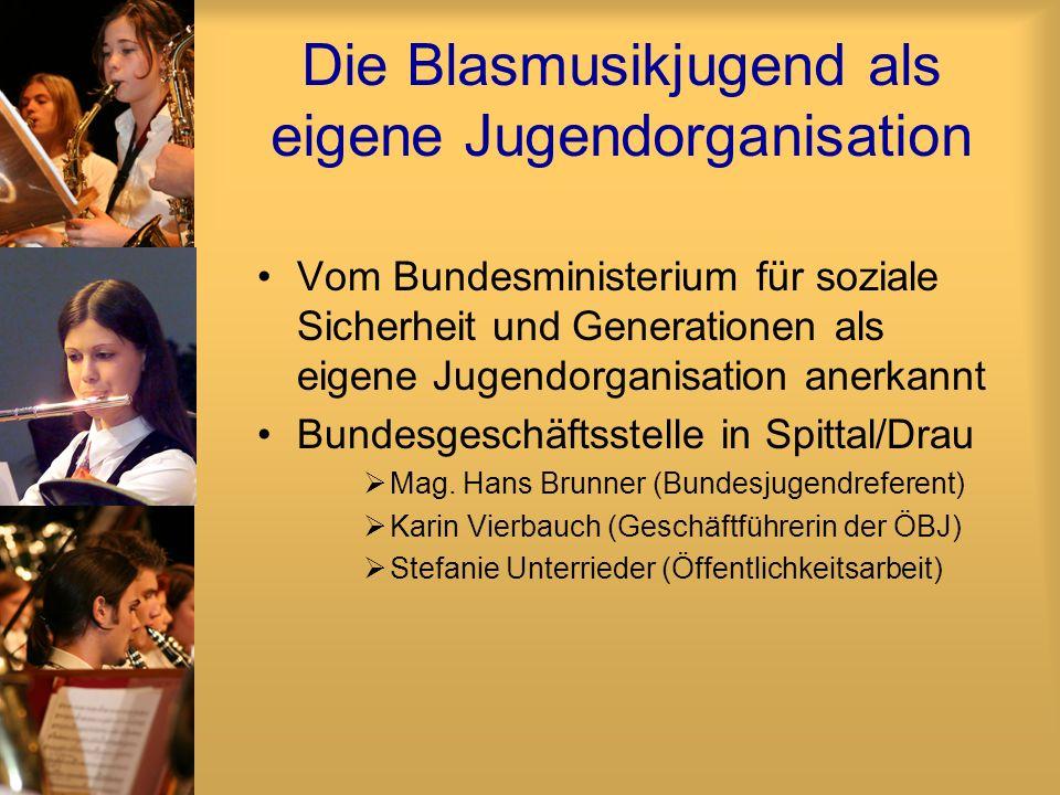 Die Blasmusikjugend als eigene Jugendorganisation Vom Bundesministerium für soziale Sicherheit und Generationen als eigene Jugendorganisation anerkann