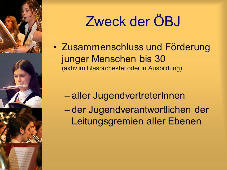 Zweck der ÖBJ Zusammenschluss und Förderung junger Menschen bis 30 (aktiv im Blasorchester oder in Ausbildung) –aller JugendvertreterInnen –der Jugend