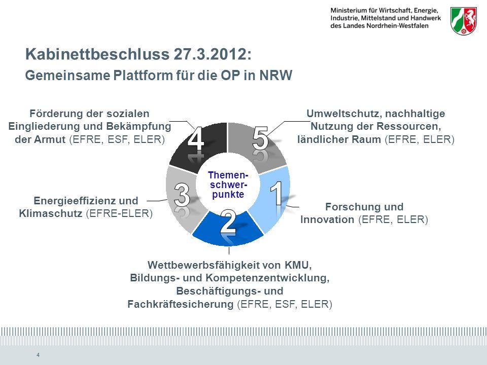 www.ziel2.nrw.de // www.wirtschaft.nrw.de 44 Kabinettbeschluss 27.3.2012: Gemeinsame Plattform für die OP in NRW Themen- schwer- punkte Wettbewerbsfähigkeit von KMU, Bildungs- und Kompetenzentwicklung, Beschäftigungs- und Fachkräftesicherung (EFRE, ESF, ELER) Forschung und Innovation (EFRE, ELER) Energieeffizienz und Klimaschutz (EFRE-ELER) Förderung der sozialen Eingliederung und Bekämpfung der Armut (EFRE, ESF, ELER) Umweltschutz, nachhaltige Nutzung der Ressourcen, ländlicher Raum (EFRE, ELER)