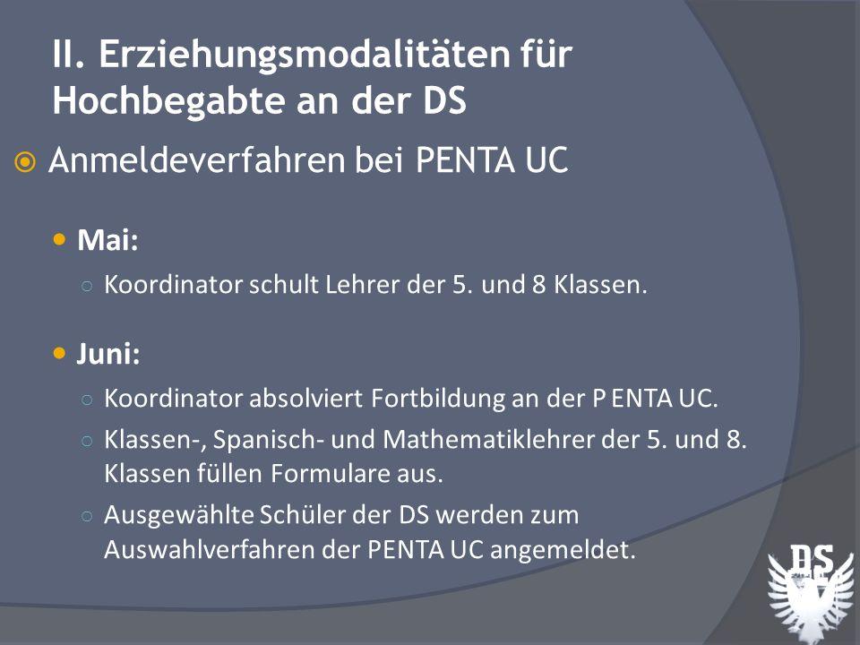 Anmeldeverfahren bei PENTA UC Juli: Versendung der angeforderten Dokumentation an PENTA UC durch Koordinator August: Vortrag bei PENTA UC für Eltern der 5.