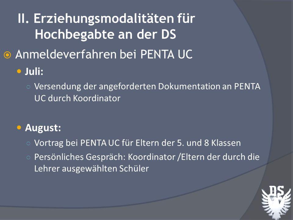 Anmeldeverfahren bei PENTA UC: September: PENTA UC benachrichtigt Eltern über Datum und Uhrzeit der Aufnahmeprüfungen.