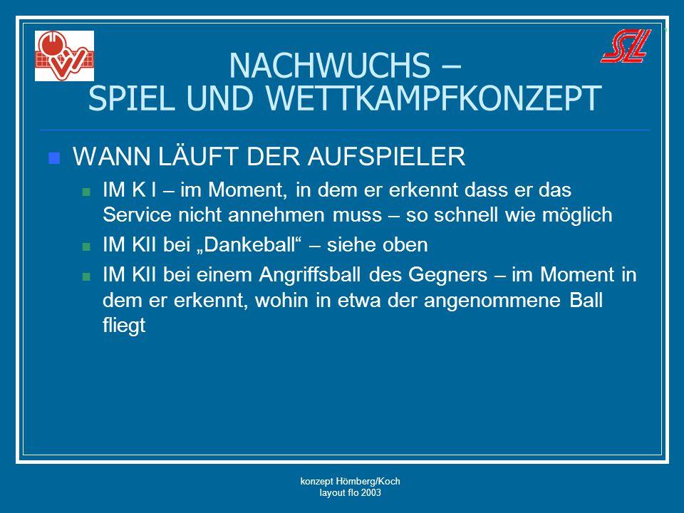 konzept Hömberg/Koch layout flo 2003 NACHWUCHS – SPIEL UND WETTKAMPFKONZEPT WANN LÄUFT DER AUFSPIELER IM K I – im Moment, in dem er erkennt dass er da