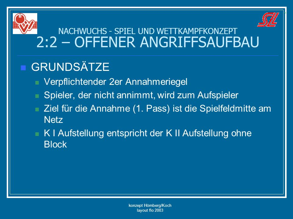 konzept Hömberg/Koch layout flo 2003 GRUNDSÄTZE Verpflichtender 2er Annahmeriegel Spieler, der nicht annimmt, wird zum Aufspieler Ziel für die Annahme