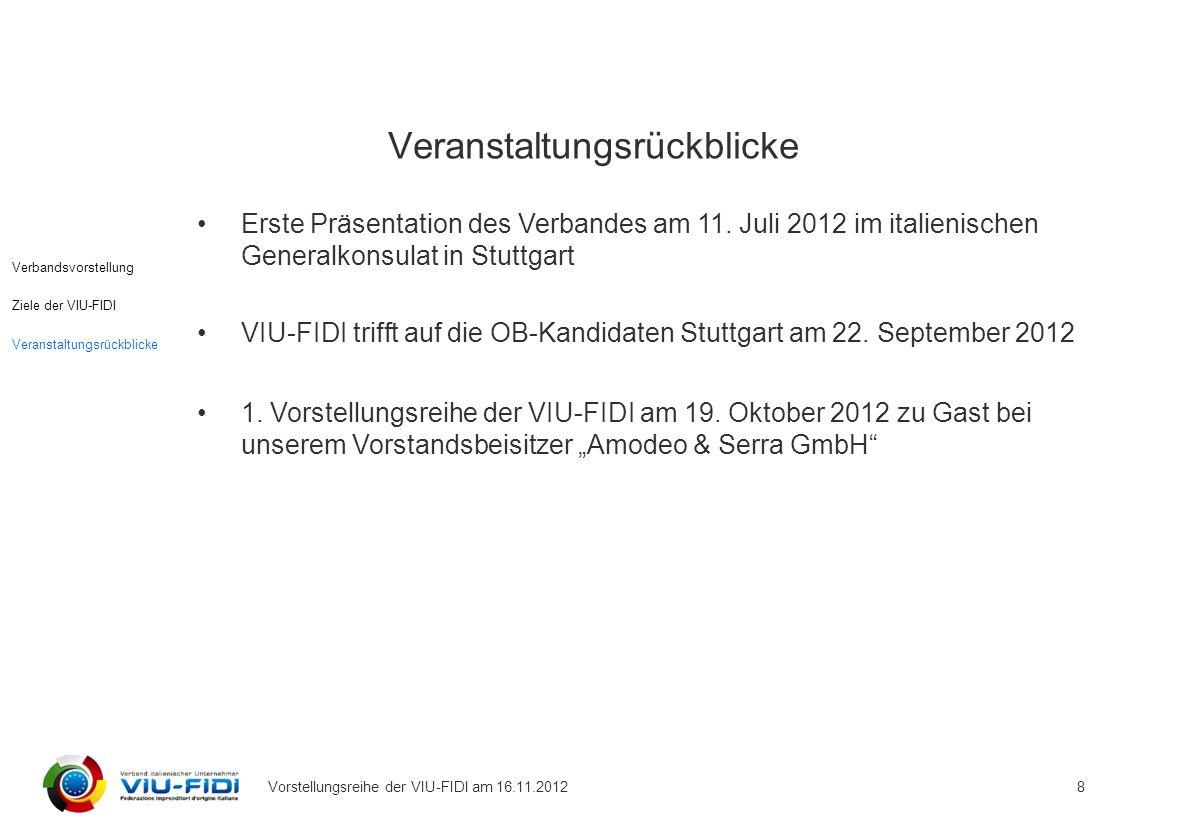 Vorstellungsreihe der VIU-FIDI am 16.11.2012 8 Erste Präsentation des Verbandes am 11.