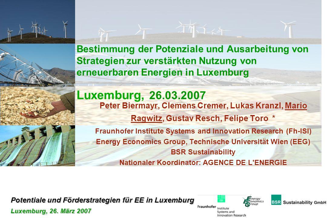 Potentiale und Förderstrategien für EE in Luxemburg Luxemburg, 26. März 2007 Bestimmung der Potenziale und Ausarbeitung von Strategien zur verstärkten