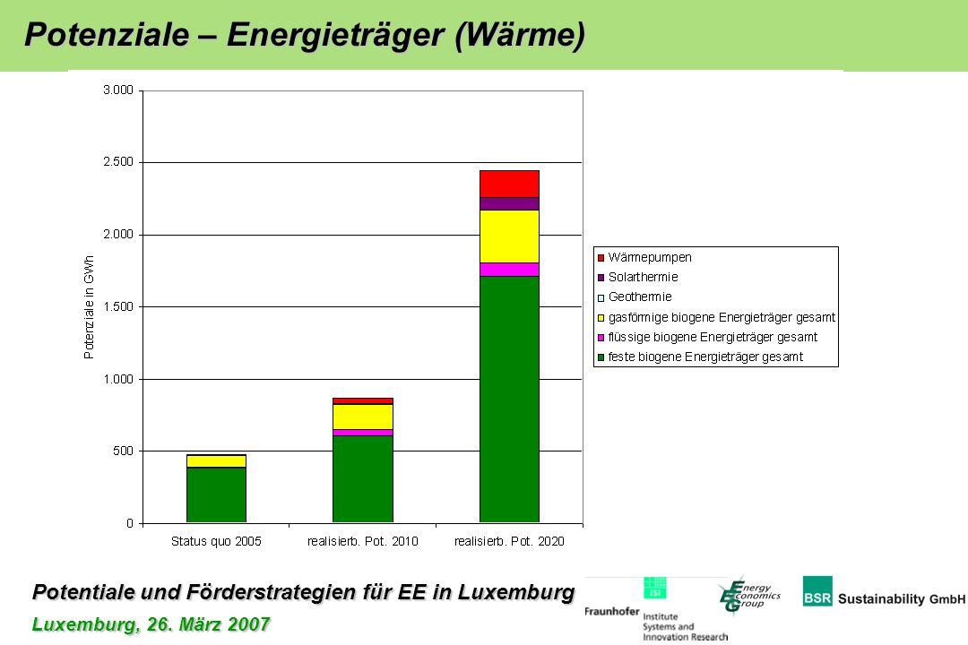 Potentiale und Förderstrategien für EE in Luxemburg Luxemburg, 26. März 2007 Potenziale – Energieträger (Wärme)