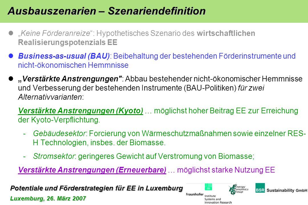 Potentiale und Förderstrategien für EE in Luxemburg Luxemburg, 26. März 2007 Keine Förderanreize: Hypothetisches Szenario des wirtschaftlichen Realisi