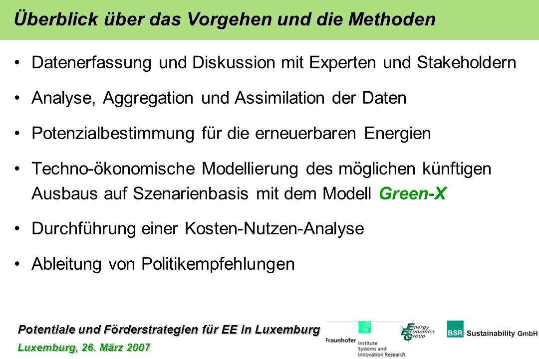 Potentiale und Förderstrategien für EE in Luxemburg Luxemburg, 26. März 2007 Datenerfassung und Diskussion mit Experten und Stakeholdern Analyse, Aggr