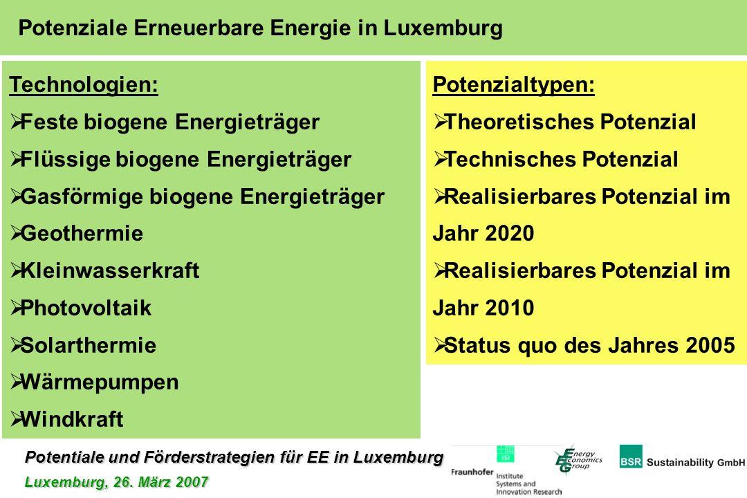Potentiale und Förderstrategien für EE in Luxemburg Luxemburg, 26. März 2007 Potenziale Erneuerbare Energie in Luxemburg Technologien: Feste biogene E